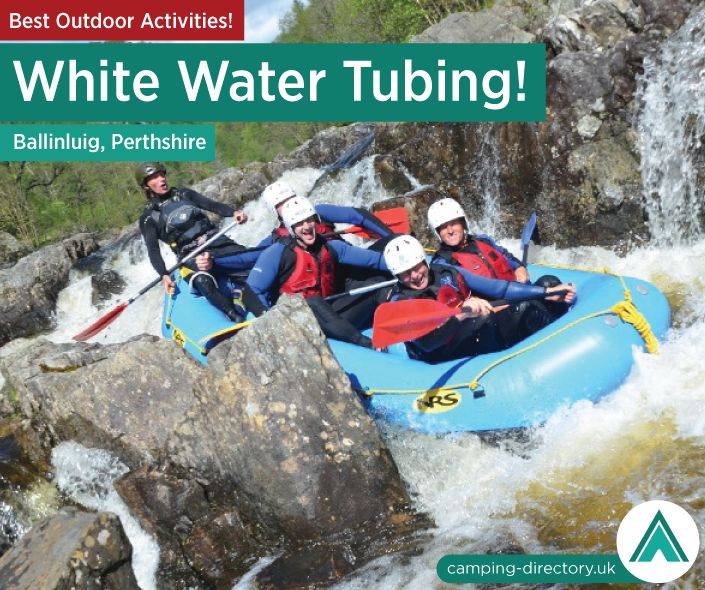 Outdoor Activity: White Water Tubing / Rafting (Ballinluig, Perthshire). White Water Rafting is available all year round in Scotland with half and full day rafting adventures available for families, stag groups, corporate groups and adrenaline junkies alike.  Each white water rafting trip includes full safety equipment, qualified & experienced river guides, transport to and from the river and the opportunity to purchase professional photos at the end of your white water rafting trip!