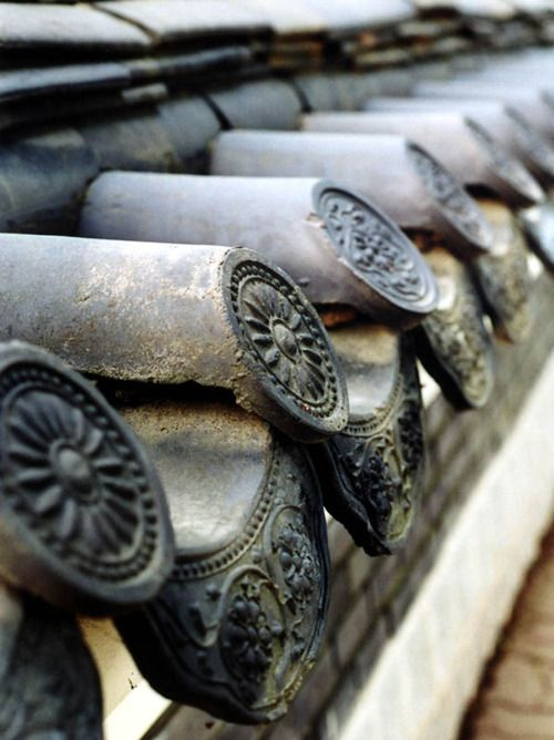 Roof tiles on a traditional Korean house