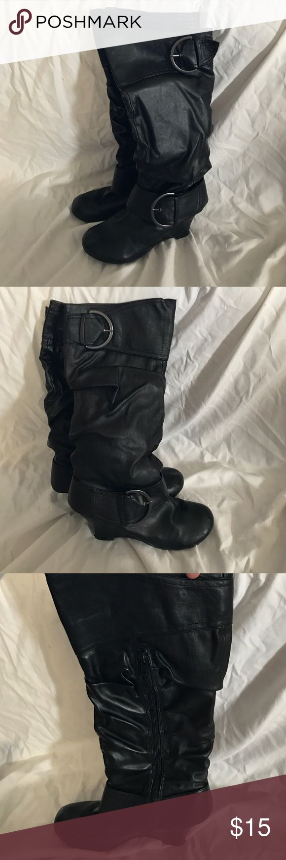 """Black heeled boot Black scrunchy style boots. Heels are approximately 3"""". Lightly worn but still have many more miles in them. UNIONBAY Shoes Heeled Boots"""
