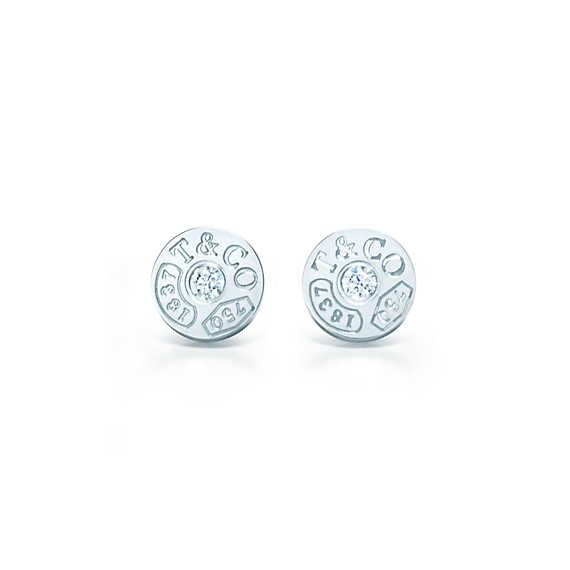 Tiffany 1837™ circle earrings in 18k white gold with diamonds. For bridesmaids.