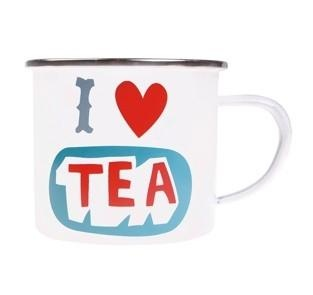 Alimrose Designs Enamel I Love Tea Mug    Price: $14.95  Declare your love of the finest drink with this 'I Love Tea' enamel mug by Alimrose Designs!
