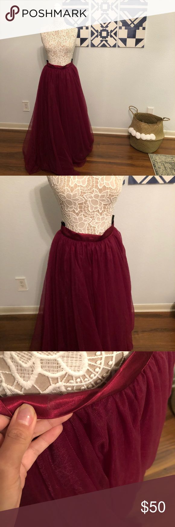 Maroon Tulle Skirt Maroon tulle skirt, worn once for a wedding, has a bit or tape residue. Great for events and looks great with crop tops! Skirts Maxi