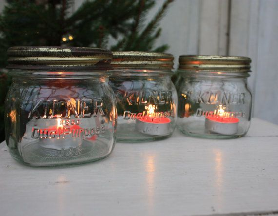 These vintage Kilner jars look fantastic with a pretty candle in them at this time of year. The rims have a lovely worn patina, creating a very