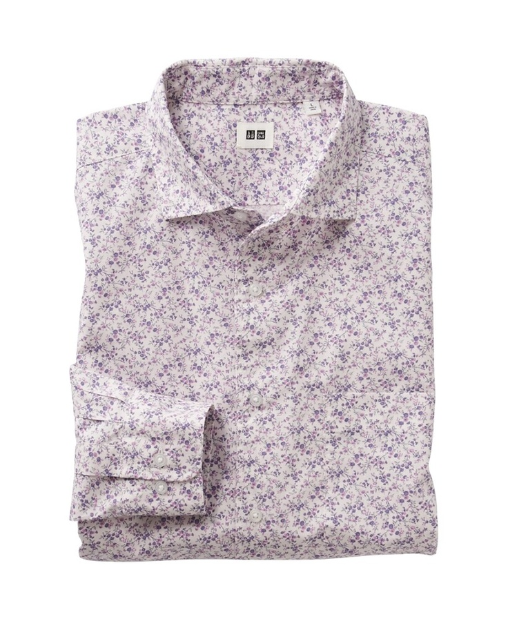 Purple Floral Print Long Sleeve Shirt - Uniqlo