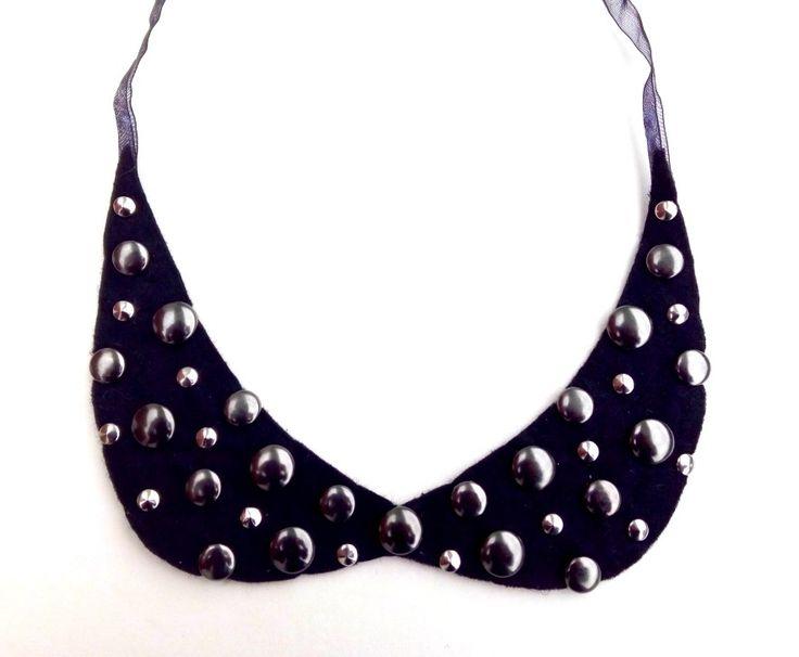 collier col claudine chic noir à clous rond rock : Collier par ideemae