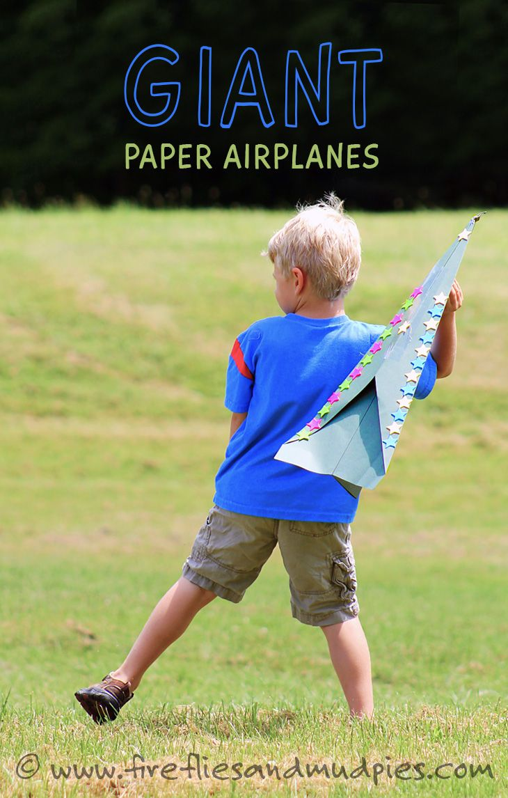 This will keep them entertained for hours! Make a GIANT paper airplane for only $1 by firefliesandmudpies #Kids #DIY #Giant_Paper_Airplane