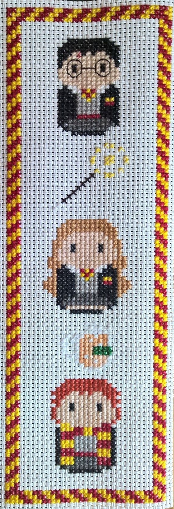 Featuring Harry, Hermione and Ron along with a wand and a mug of butter beer. Gryffindor house color border  Design by Clouds Factory  Cross stitched on durable vinyl weave so no fraying or staining  MADE TO ORDER  Design can be made ready to fit a 5x7 frame on Aida cloth with or without border