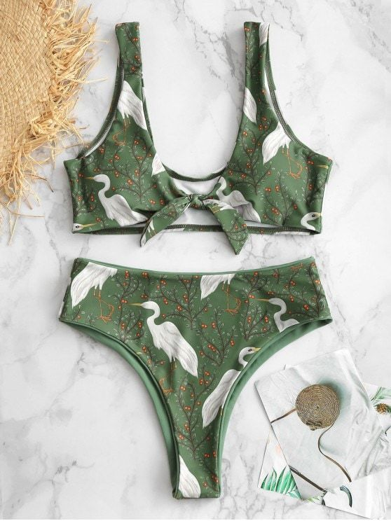 3ffc0b4208 Birds Plant Print Reversible Bikini Set in 2019 | Zaful Trendy ...