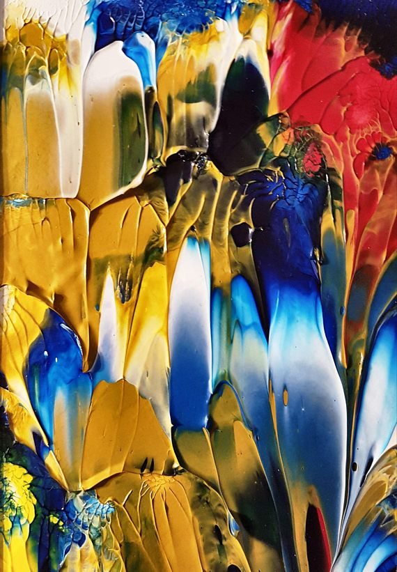 Blue Petals Abstract Original Painting