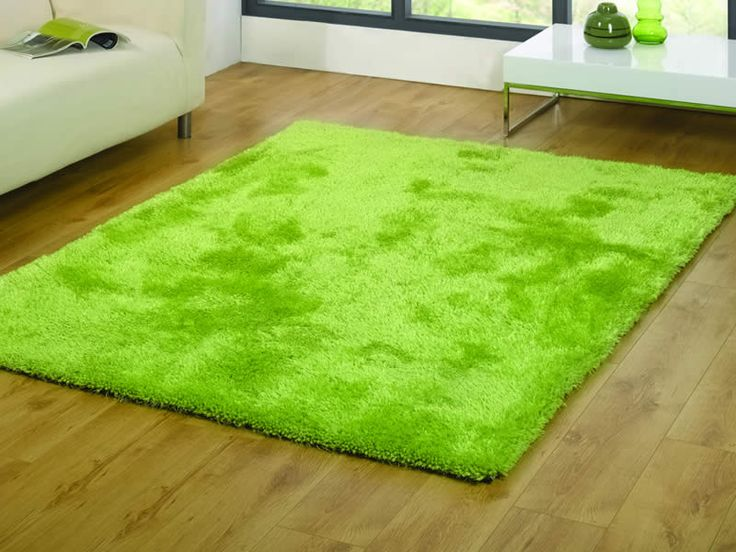 Lime Green Shaggy Raggy Rug