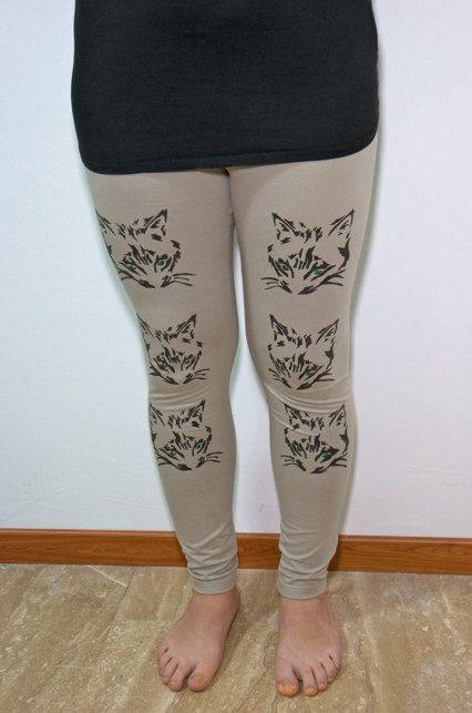 Womens Leggings  L/XL  Beige leggings  Handmade by COOLLeggings