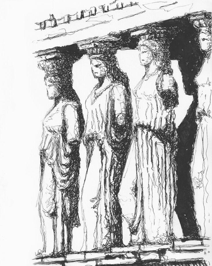 Greek temple erechtheum , caryatid