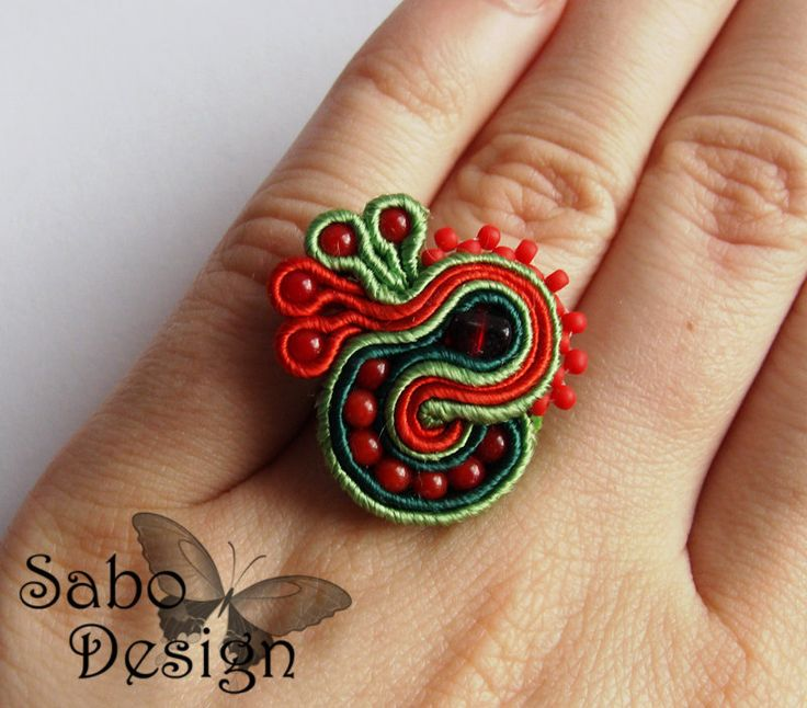 ROOSTER - soutache embroidery ring handmade in red and green, summer fashion jewelry, TOHO beads, ooak gift for her under 25. $19.00, via Etsy.