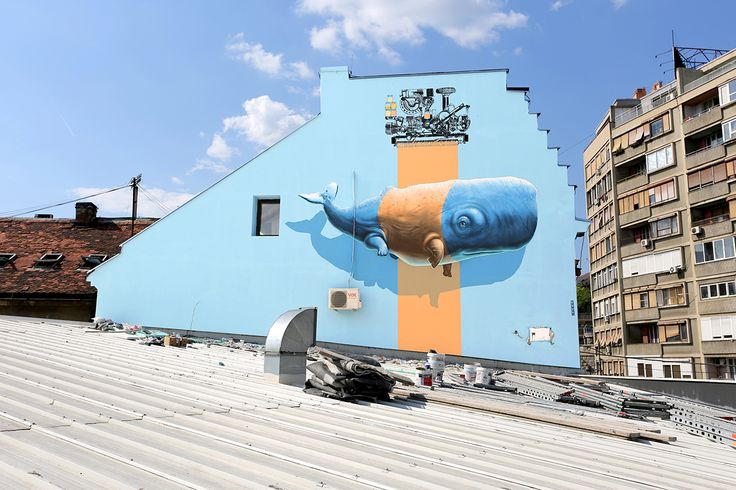 """Imitation of life n°9"" a.k.a. ""Evolutive Machine n°1"" - Mural painting realized over the Mikser House in Belgrade (Serbia), in the context of the Mikser Festival 2014. 44°48'50.1""N 20°27'04.4""E"