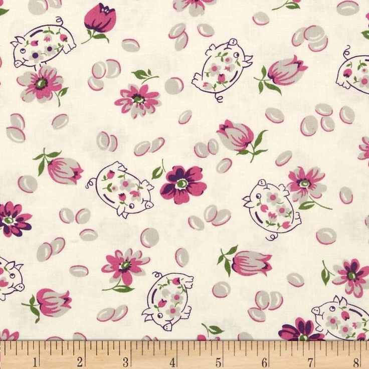 Tossed Flowers & Pigs Ivory/Pink by Gloria Leonard Hall for Andover Fabrics $5.98/y