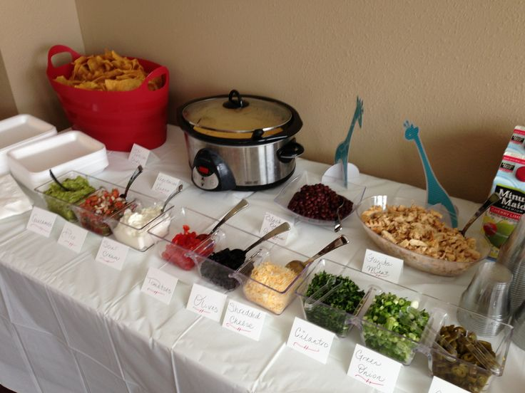 "Nacho bar. How about a ""make your own nachos"" bar at your next baby shower or event? This simple setup was a hit & it can be gluten-free or vegetarian friendly. (Nacho Cheese Warmer)"