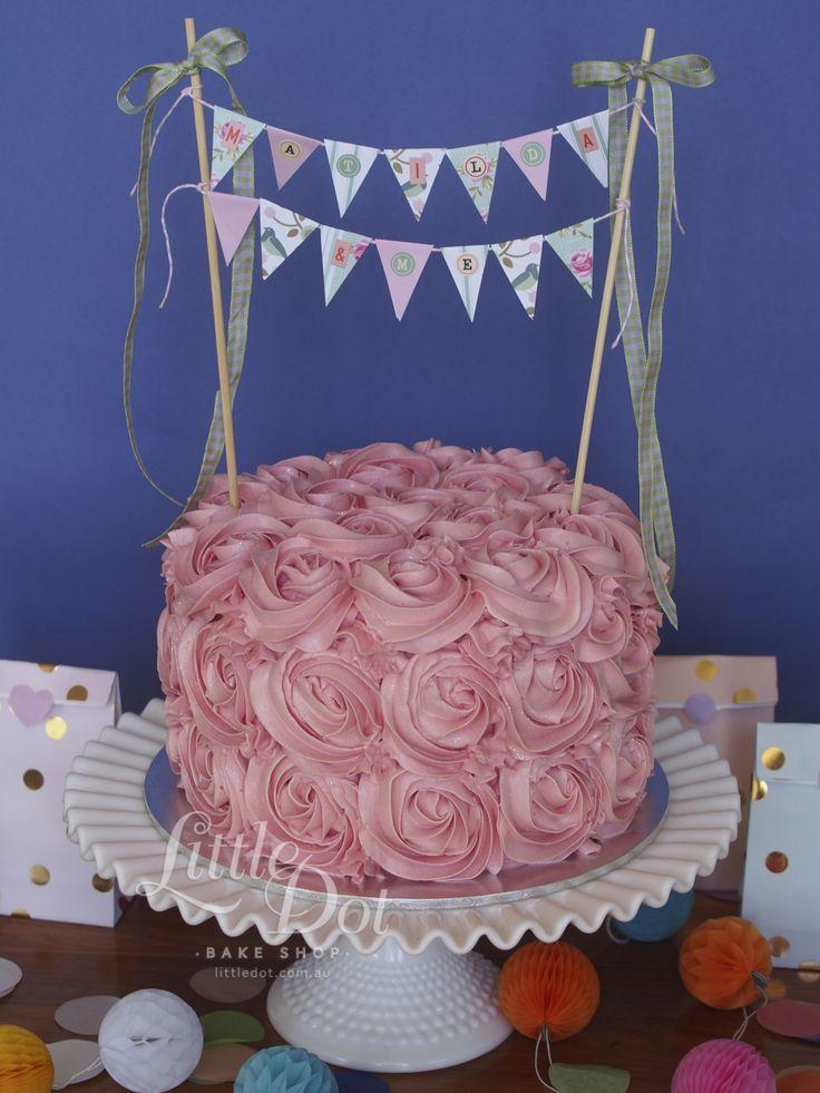 Little Dot Rosette Cake with handmade paper craft bunting