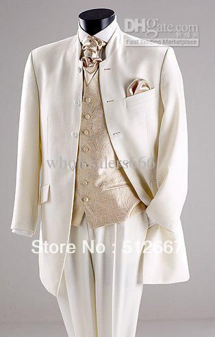 tan man Suit/  Four Buttons Ivory Groom Tux