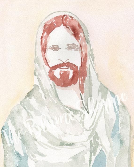 Jesus Christ Saviour Print Watercolour Painting Watercolor