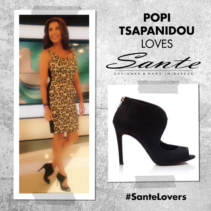 """Η Πόπη Τσαπανίδου με SANTE cut-out booties στην εκπομπή """"LIVE U"""" του STAR #SanteLovers"""
