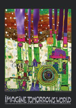 Friedensreich Hundertwasser - Imagine Tomorrows World (grüne Version) - nach 944 blue blues