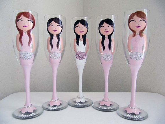 Bride and Bridesmaid Champagne and Wine by JennyDsCustomDecor, $25.00