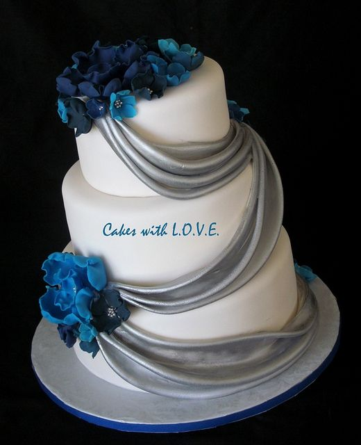Blue and Silver Wedding Cake by Cakes with L.O.V.E., via Flickr