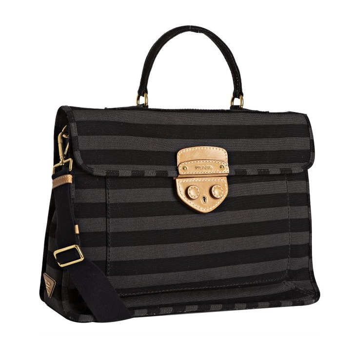 Prada. Stripe Canvas Pushlock Tote. $1116