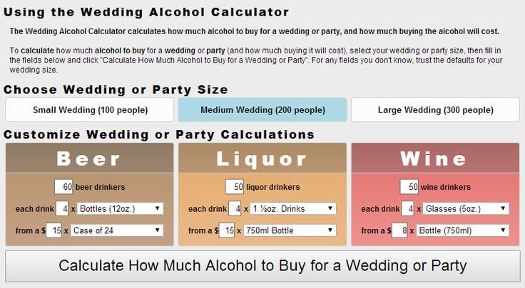 The Wedding Alcohol Calculator calculates how much alcohol to buy for a wedding or party, and how much buying the alcohol will cost.