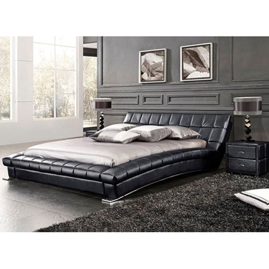 Mason King Size Bed In Black Faux Leather With Chrome Plated