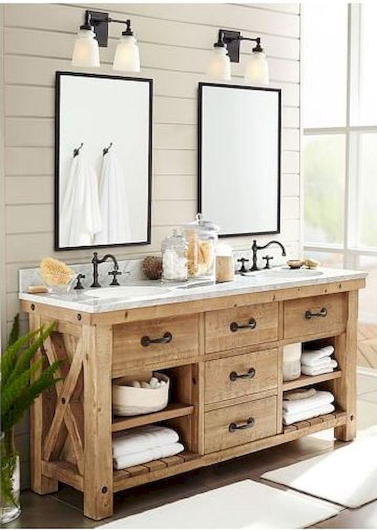 Farmhouse Bathroom Remodel Ideas White Shiplap Walls Double Vanity 2 Sin Bathroom