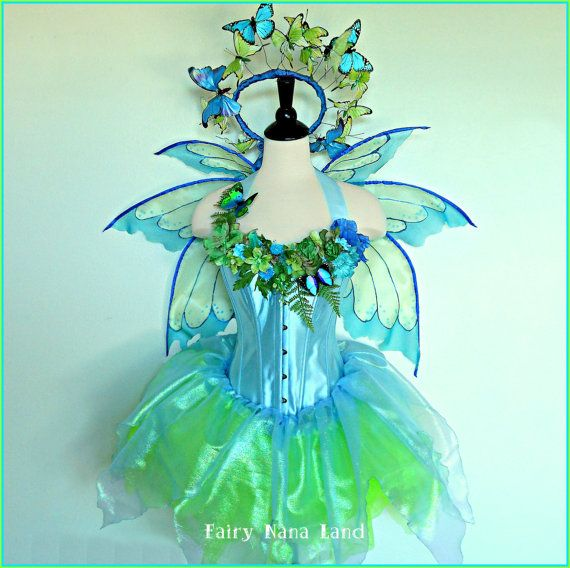 Fairy Costume adult size s/m bust 36 - BUTTERFLY GARDEN FAIRY