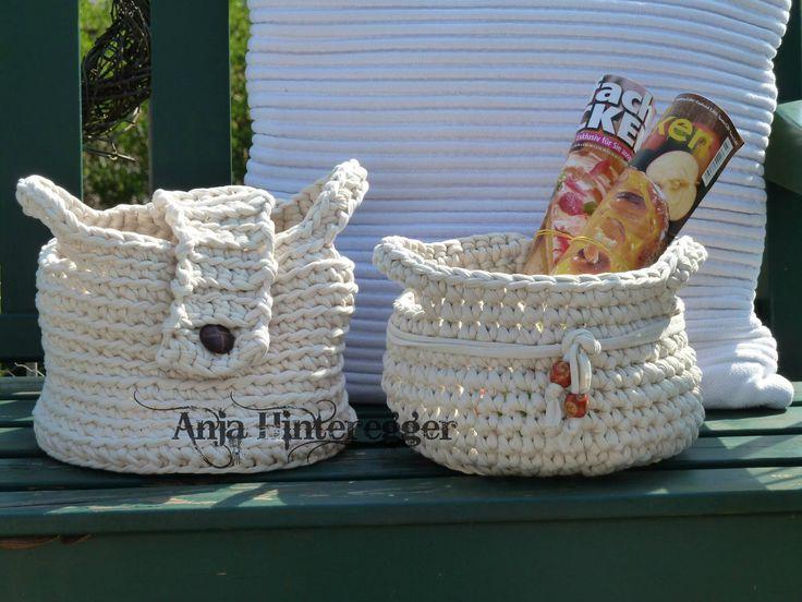 erste k rbe aus textilgarn crochet h keln pinterest. Black Bedroom Furniture Sets. Home Design Ideas