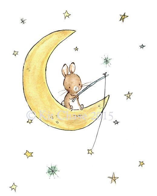 This little bunny is out to catch a wishing star and make his dreams come true. - art print from an original watercolor, gouache, and acrylic painting by Kit Chase. - archival matte paper and ink - ve