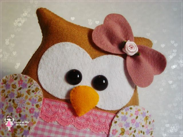 """""""~ADORABLE~""""  Crafty Lil' Owl...  Made from Felt~Material~Cotton Stuffing~Printed Fabric~ Buttons & Bows!!!  Luv these OWLS"""