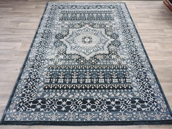 Blue Medallion Design Turkish Traditional Rug Size: 200 x 290cm