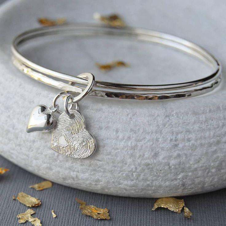 Silver Fingerprint Charm Double Bangle