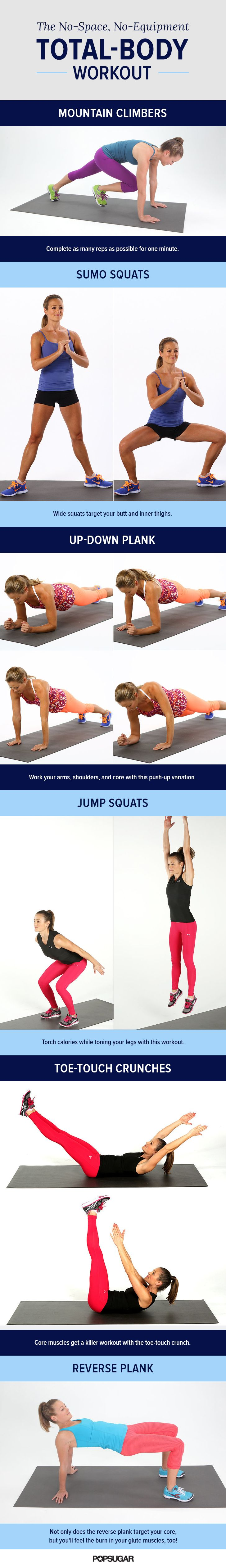 Don't have a gym membership? Don't worry! This total body workout routine will take you through exercises, like squats and planks, to tone up without equipment.