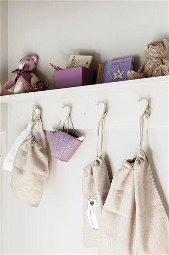 Be sure to keep them organized! A simple ledge with door knobs easily doubles as #storage and #decor: