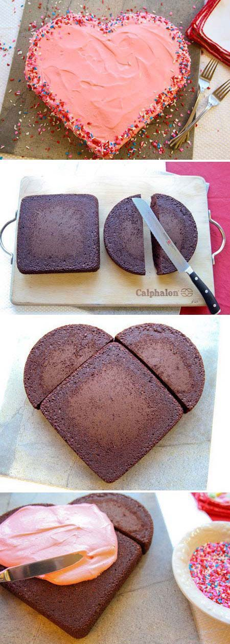 One square one round cake -cut round cake in half and turn square cake to look like diamond shape place each half on each side and Voila!  Heart Shaped Cake!