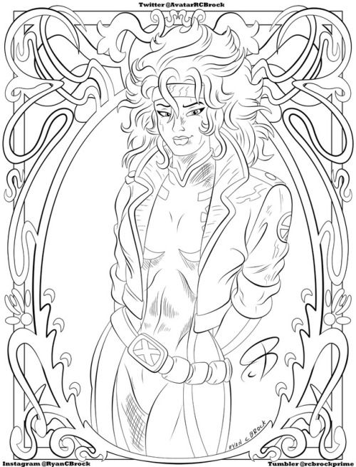"""rcbrockprime:  """"RCBrock Here!  Its a new coloring book page for all of you today. I made it from my drawing of Rogue from the Marvel Xmen animated series. Hope you like it internet.  """""""