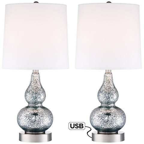 bedroom lamp sets. Castine Blue Mercury Glass Table Lamp with USB Port Set of 2 1429 best  Lamps images on Pinterest Bulbs