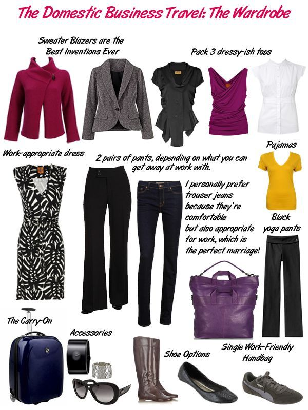 Travel Domestic Business packing for a business trip - several outfits in business casual style