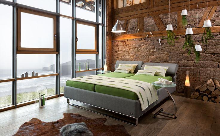 Boxspringbett Luciano Betthöhe 53cm mit Stoffbezug in Dunkelbraun - schlafzimmer mit bettüberbau