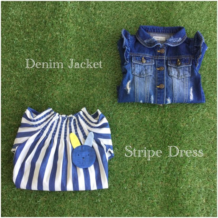 Denim Jacket + Stripe Dress <3 adorable look