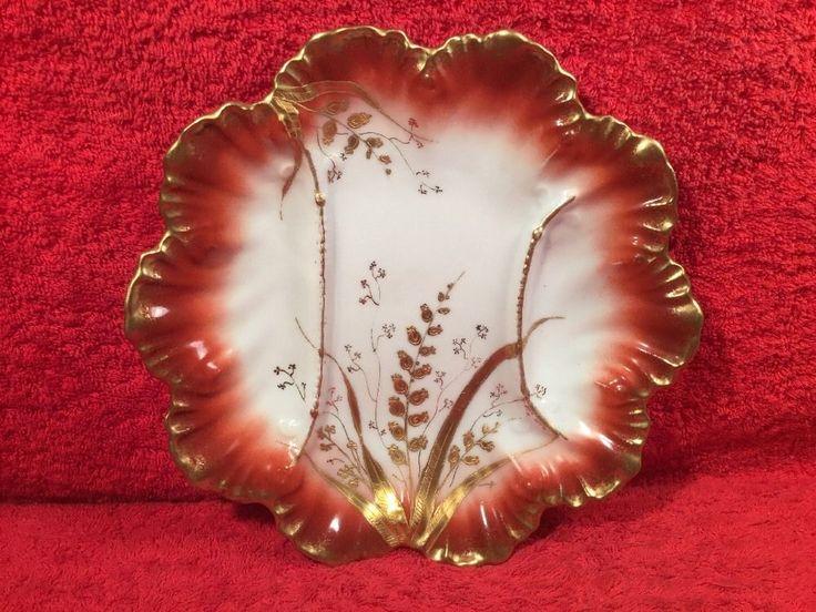 Antique Limoges Asparagus Plate w Gold Paste Flowers c.1890, L370 #Victorian #ALanternierAKlingenberg