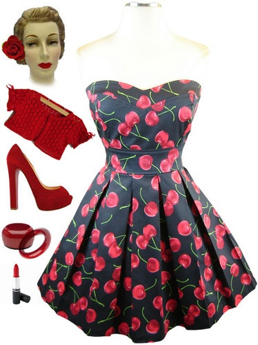 50s Style Navy Blue Cherry Print Sweetheart Bust Strapless Pinup Sun Dress | eBay