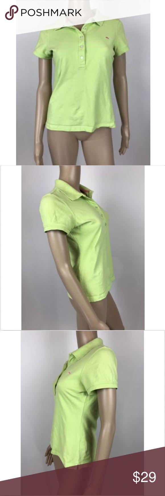 "Vineyard Vines Lime Green Polo Shirt Sz Small Vineyard Vines women's lime green short sleeve stretch polo shirt sz small Measurements laying flat Armpit to Armpit 19"" Length 22"" Vineyard Vines Tops"