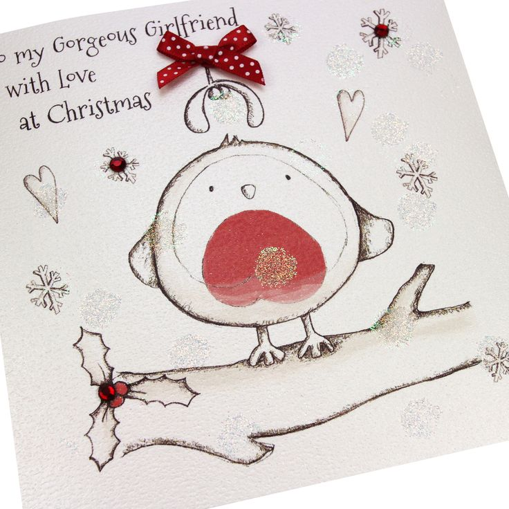 Handmade Christmas Card Glitter Robin Polka Dot Bow Gems Cute Embossed - 'To my Gorgeous Girlfriend with Love at Christmas'