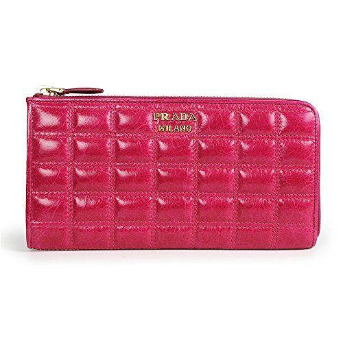 Prada Clutch Wallet Vitello Shine Quilted Leather Fuchsia Hot Pink